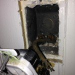 Before: 3 prong ungrounded receptacle with knob & tube wiring