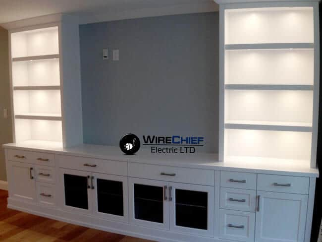 wall shelving unit lighting